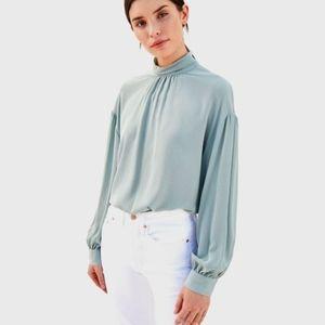 VINCE Gathered silk-crepe blouse